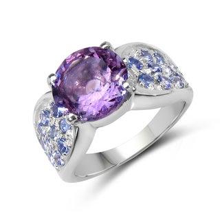 Malaika Sterling Silver 4ct TGW Amethyst and Tanzanite Ring
