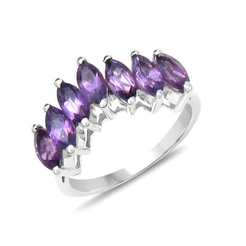 Malaika Sterling Silver 1 1/6ct TGW Amethyst Ring
