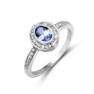 Malaika 10k White Gold 1/2ct TGW Tanzanite and Diamond Accent Ring