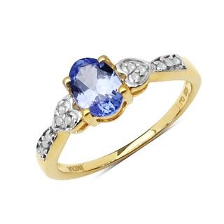 Malaika 0.81 Carat Genuine Tanzanite & White Diamond 10K Yellow Gold Ring