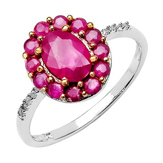 Olivia Leone 10k White Gold 1 1/2ct TGW Ruby and Diamond Accent Ring