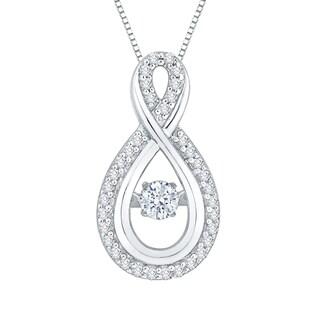 10K White Gold 1/4ct TDW Dancing White Diamond Fashion Pendant (G-H,I2-I3)