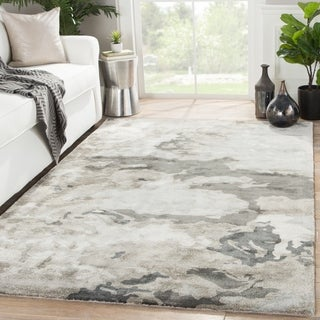 Mudra Handmade Abstract Gray/ Silver Area Rug (9' x 12')