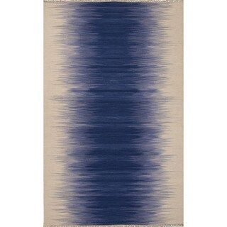 Flatweave Abstract Pattern Blue/Ivory Wool Area Rug (9' x 12')