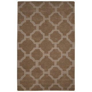 Solids Trellis, Chain And Tile Pattern Tan Wool Area Rug (9' x 12')