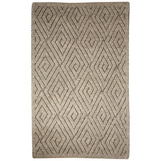 Contemporary Tribal Pattern Ivory/Gray Wool Area Rug (9' x 12')