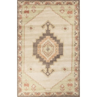 Contemporary Tribal Pattern Ivory/Green Wool Area Rug (9' x 12')
