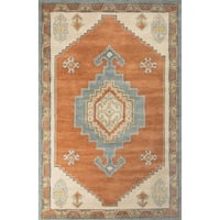 Sabine Handmade Medallion Orange/ Blue Area Rug (9' X 12')