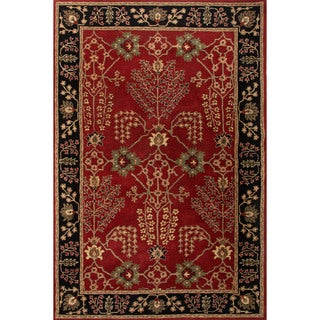 Classic Oriental Pattern Red/Black Wool Area Rug (10' x 14')