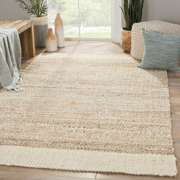 Delphin Natural Bordered White/ Tan Area Rug (8' X 10')
