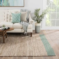 Delphin Natural Bordered Tan/ Blue Area Rug (9' X 12') - 9' x 12'