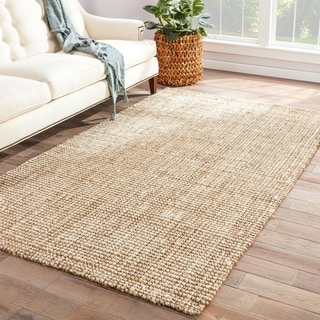 Naturals Solid Pattern Ivory/White Jute Area Rug (10' x 14')