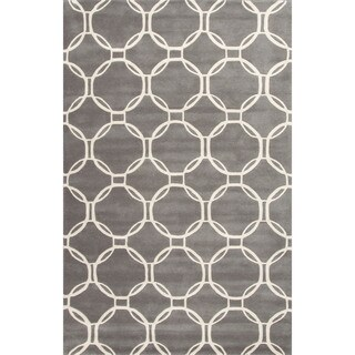 "Grant Handmade Trellis Gray/ White Area Rug (9'6"" X 13'6"")"