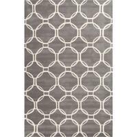Grant Handmade Trellis Gray/ White Area Rug (9' X 12') - 9' x 12'