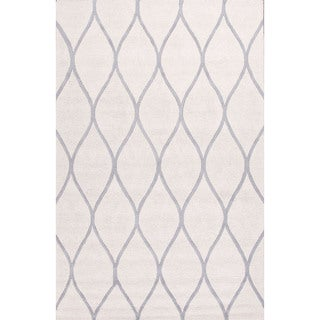 Contemporary Geometric Pattern Ivory/Gray Wool Area Rug (9' x 12')