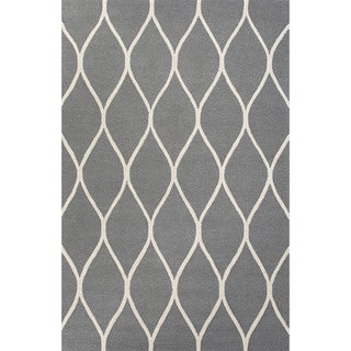 Contemporary Geometric Pattern Gray/Ivory Wool Area Rug (9' x 12')