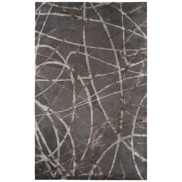 "Jazz Handmade Abstract Gray/ Brown Area Rug (8' X 10') - 7'10"" x 9'10"""
