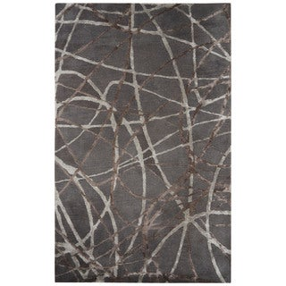 "Jazz Handmade Abstract Gray/ Brown Area Rug (8' X 10') - 7'10"" x 9'10"""
