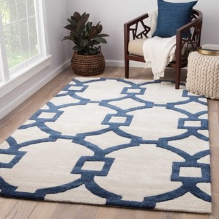Contemporary Trellis, Chain And Tile Pattern Ivory/Blue Wool and Art Silk Area Rug (9' x 12')