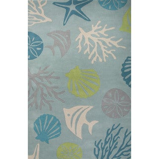 Contemporary Coastal Pattern Blue/Green Wool Area Rug (10' x 14')