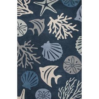 Contemporary Coastal Pattern Blue/Ivory Wool Area Rug (10' x 14')