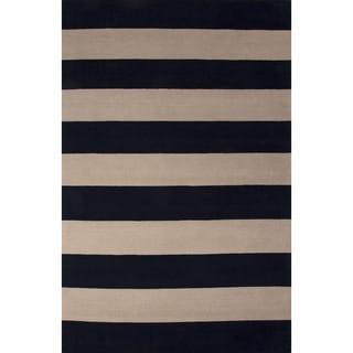 Handmade Stripes Blue Area Rug (9' X 13')