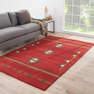 "Dineh Handmade Medallion Red/ Gray Area Rug (8' X 10') - 7'10"" x 9'10"""