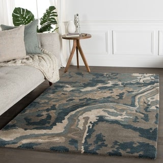 Contemporary Abstract Pattern Blue/Tan Wool and Art Silk Area Rug (9' x 12')