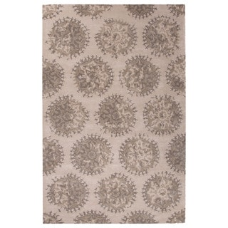 Contemporary Medallion Pattern Ivory/Gray Wool and Art Silk Area Rug (9' x 12')