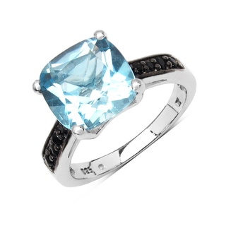 Olivia Leone 5.41 Carat Genuine Black Spinel and Blue Topaz .925 Sterling Silver Ring