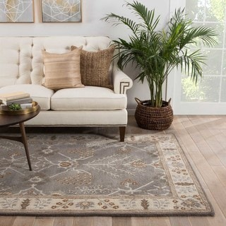 Chantilly Handmade Floral Gray/ Beige Area Rug (2' X 3')