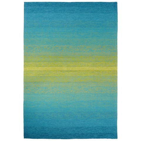 "Channel Indoor/ Outdoor Ombre Blue/ Lime Green Area Rug (5' X 7'6"") - 5' x 7'6"""