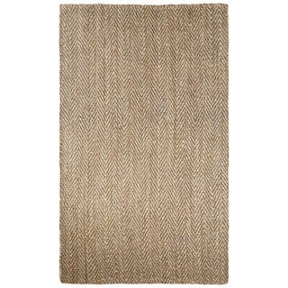 Naturals Chevrons Pattern Brown/Natural Jute Area Rug (4' x 6')