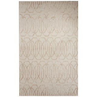Contemporary Trellis, Chain And Tile Pattern Gray/Ivory Wool and Art Silk Area Rug (2' x 3')