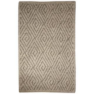 Lamont Handmade Geometric Gray/ Cream Area Rug (5' X 8') - 5' x 8'
