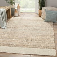 Delphin Natural Bordered White/ Tan Area Rug (5' X 8')
