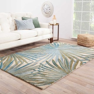 Contemporary Coastal Pattern Blue/Green Wool Area Rug (5' x 8')