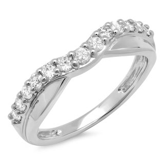 14k white gold 12ct tdw round diamond anniversary wedding band h i i1 - Wedding Band Rings