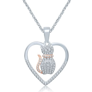Unending Love Sterling Silver Diamond Accent Cat Pendant