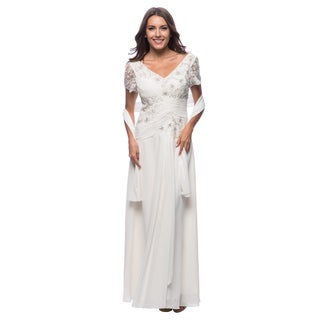DFI Women's Lace & Sequin Detail Gown 2X in Lilac (As Is Item)