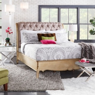 Elizabeth Button-tufted Champagne Gold Finish Upholstered Bed