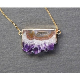 Mint Jules Raw Amethyst Slice Bar Druzy Geode Goldplated Pendant Necklace