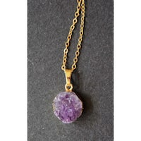 Mint Jules Raw Cluster Round Amethyst Geode Druzy Pendant Gold Plated Necklace