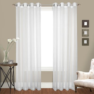 Crush Voile Grommet Top Curtain Panel Pair 95-inch in White (As Is Item)