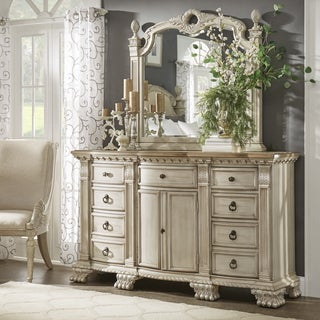 Ellina Washed White Finish European-Style Dresser and Mirror