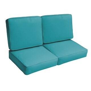 Sloane Aqua Blue 47-inch Indoor/ Outdoor Corded Loveseat Cushion Set