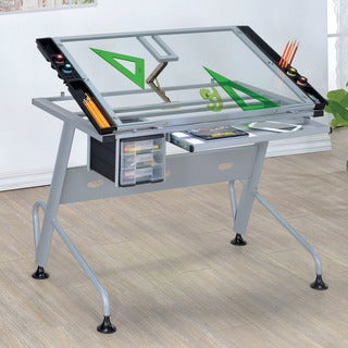 Furniture of America Kaisa Modern Silver Glass Top Draft Desk