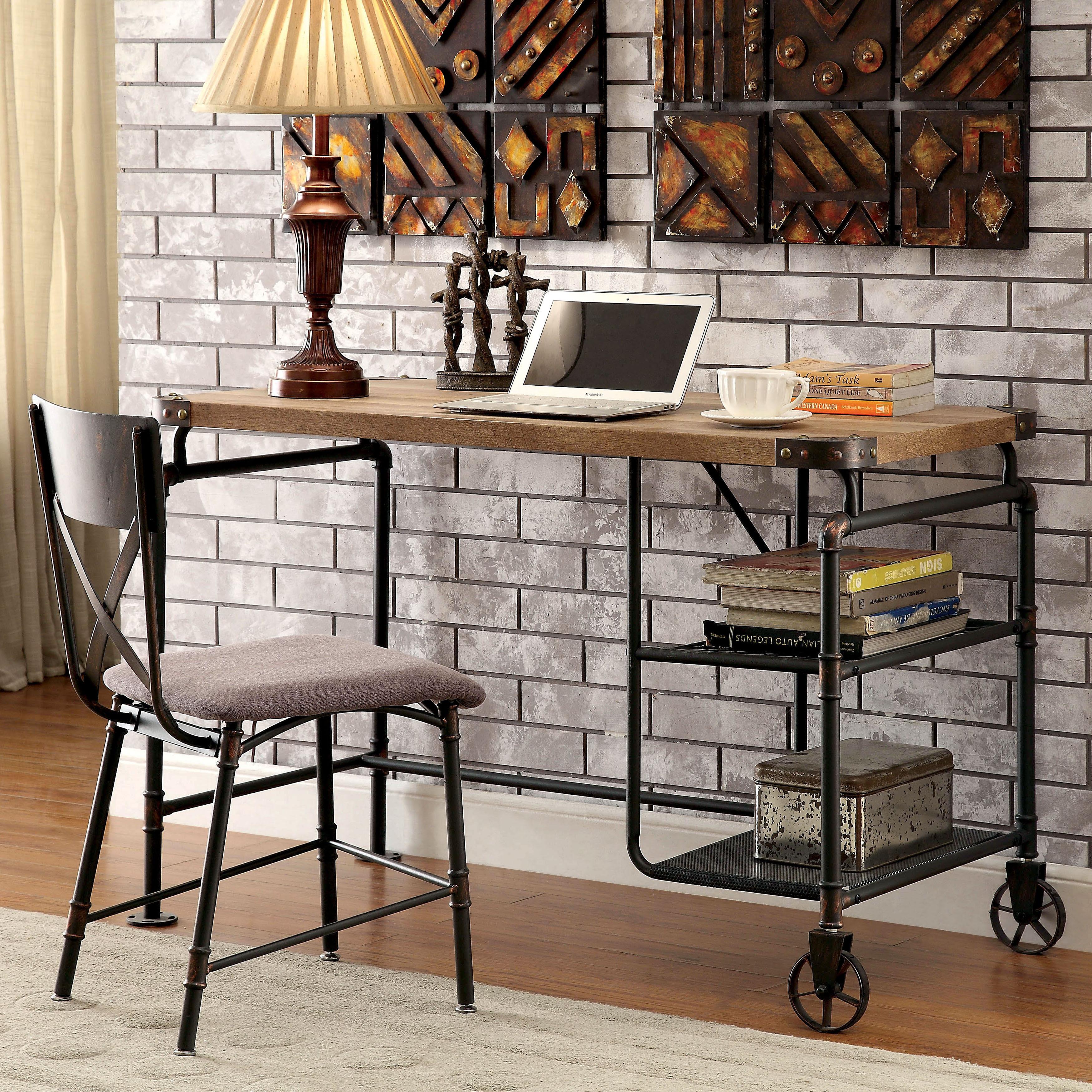 Computer desk 2 shelf industrial home office furniture writing antique black new