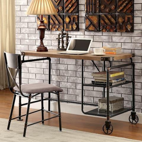 Herman Industrial Antique Black 2-shelf Desk by FOA