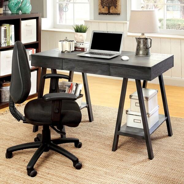 Furniture of America Fowe Rustic Grey 47-inch Solid Wood 2-shelf Desk